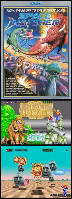 Space Harrier. An original, surreal game, featuring one of these first hydraulic Sega arcade cabinets. I remember I wanted to have this game so badly that I created a fake conversion screenshot in Deluxe Paint on my Amiga 1000 in 1986. That was one of my earliest digital artworks.