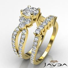 3.05ct Round Diamond Women's Engagement Bridal Set Ring GIA F VS2 14k Yellow Gold