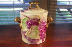 Antique GDA HP Porcelain Limoges France Condensed Milk Jar Container Grapes #Limoges
