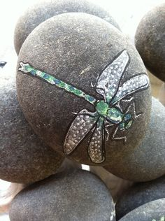 Dragonfly Painted Beach Rock
