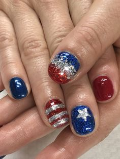 of July Glitter Gel Nails Acrylic Nail Designs, Acrylic Nails, Patriotic Nails, Glitter Gel Nails, Gel Nail Colors, Hair Dos, 4th Of July, Beauty, Style