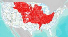 7,000 of America's rivers lead into the Mississippi and from there into the Gulf of Mexico, covering pretty much all of the Midwest but surprisingly little of the South- 36 maps that will make you see the world in completely new ways