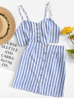 Conjunto de rayas con botón -Spanish SheIn(Sheinside) High School Outfits, Summer Outfits, Sheinside, Skirt Co Ord, Ideas Para, Cami, Button Up, Outfit Ideas, Rompers