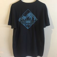 vans x Joel Tudor collab tee black tee with blue graphic. vans made a collection for surfer Joel Tudor and this is one of the pieces! awesome tee in great condition. marked a men's large but it beat fits a women's large (slightly oversized) or women's XL. comes from a smoke free home! no trades, always feel free to make offers using offer feature! Vans Tops Tees - Short Sleeve