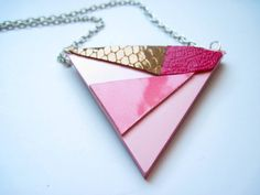 Geometric Superwoman Leather Triangle Necklace by maycily on Etsy, $14.00
