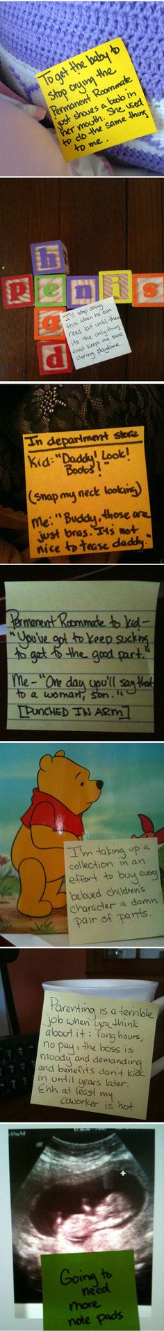 What happens when you give a bored dad post-it notes... - The Meta Picture