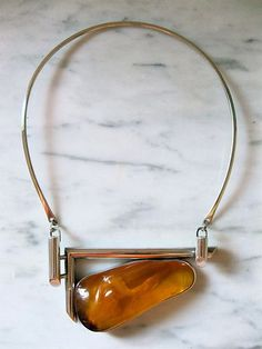 mid century sterling & amber necklace