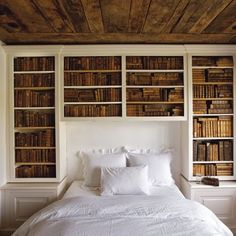 Lamp and MANY books beside the bed... Restful to me... and lots of material to dream on...
