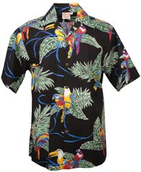 Go Barefoot - Tropical Birds - Hawaiian Aloha Shirt in Black