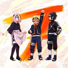 Team 7 dress-up! Sakura = Rin  Naruto = Obito  Sasuke = Kakashi