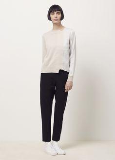 Totokaelo - Maison Margiela Beige/Grey Satin Applique Sweater