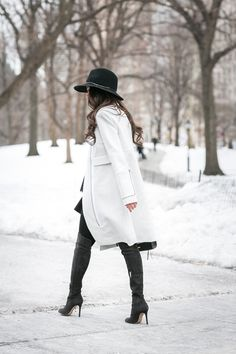 Winter Wonderland :: White coat & Tiered top :: Outfit :: Top :: A.L.C. coat, Rebecca Minkoff top Bottom :: ASOS Shoes :: Gianvito Rossi Bag :: Rebecca Minkoff Accessories :: Janessa Leone hat , DKNY tights, Deborah Lippmann 'It's raining men', Stila 'Feiry' lipcolor, Rebecca Minkoff pouch & notebook Published: February 18, 2015