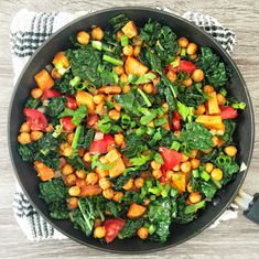 Lemon Chickpea Skillet with Kale, Sweet Potatoes, Tomatoes, and Onions