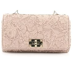 Pre-Owned Valentino Girello Shoulder Bag Leather Lace Medium (€740) ❤ liked on Polyvore featuring bags, handbags, pink, valentino handbags, pale pink handbag, shoulder handbags, pink handbags and chain strap handbags