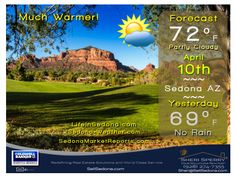 Sedona-weather.com - Monday April 10 - Much Warmer - Record 82• in 2014 - Sunrise 6:01a - Sunset 6:55p MST  #sellsedona #golfhomes Congratulations to Sergio Garcia on 1st Majors Win -  They grass is always greener in Augusta but they don't have red rocks! #redrocksfever  #sedonalifestyle #sellsedona