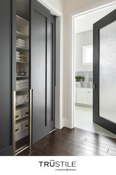 Bring a cohesive contemporary look to your interior design by mixing and matching contemporary door styles with consistent wood color. 🚪Custom TM1000 double bypass doors, TM1000 with 3Form® Lasso resin Doors, Contemporary Interior Design, Wood Colors, Tall Cabinet Storage, Locker Storage, Interior, Contemporary Doors, Contemporary, Doors Interior