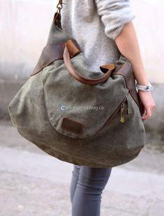 Large Capacity Shoulder Bag Leather Canvas Bag (3)