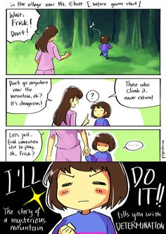 """Frisk - comic - """"I keep seeing sad theories about why Frisk climbs the mountain but what if Frisk is just a really determined kid"""""""