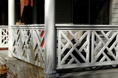 Chelsea & Meade offer architectural grade fretwork in the Chinese Chippendale style, for use in exterior railings, screens, gates & fences. Porch Railing Designs, Front Porch Railings, Porch Entry, Stair Railing, Deck Railings, Railing Ideas, Balcony Railing, Front Porches, Wrought Iron Stairs