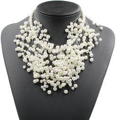 2017 New Z design simulated pearl necklace fashion luxury choker design pendant statement maxi necklace women JURAN Jewelry