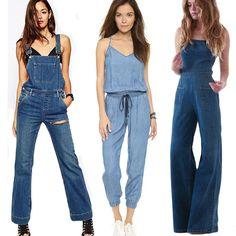 Damen Overalls Jumpsuit Jeans Denim Pants Latzhose Capri Bermuda Träger Hose Neu in Kleidung & Accessoires, Damenmode, Jeans | eBay