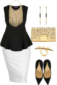 White pencil skirt, black peplum top & pumps & gold accessories.LOVEEEEEEEEEEEEEEEEEEEEEEEEEEEEEEEEEEEEEEEEEEEE This is it!!!