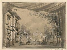 "Set design (1878), by Philippe Chaperon (1823-1906), for Act 1 of ""Les Noces de Fernande"" (1878), by Louis Deffès (1819-1900)."