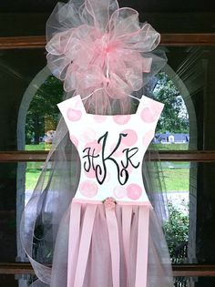 Personalized Baby Girl Door Hanger by BronwynHanahanArt on Etsy, $55.00