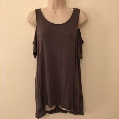 Foreign Exchange Cold Shoulder Top Cold shoulder high low top. 95% micro bamboo, 5% spandex. Worn once. Tops