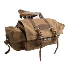 Wax Canvas & Leather Bicycle Seat Bag, Perfect Companion for your Brooks Saddle. Bicycle Seats, Bicycle Bag, Bike Seat Bag, Bullitt Bike, Rando Velo, Velo Retro, Bike Panniers, Motorcycle Saddlebags, Leather Bicycle