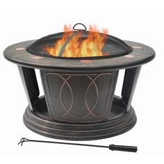 A black steel wood burning fire pit with cover is the for Table exterieur home depot