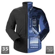 Jaqueta impermeável, com 35 bolsos para transportar objetos variados.