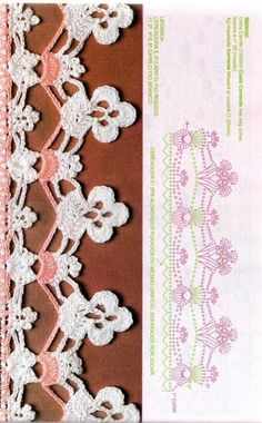 This Pin was discovered by HUZ Crochet Blanket Edging, Crochet Edging Patterns, Crochet Lace Edging, Crochet Borders, Crochet Chart, Lace Patterns, Crochet Trim, Crochet Designs, Crochet Doilies