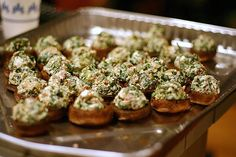 Roasted Mushrooms Stuffed With Feta, Spinach + Bacon.
