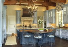 Blue traditional-country kitchen