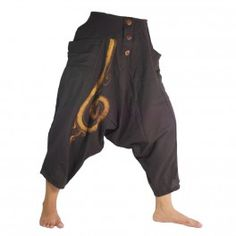 3/5 harem pants with spiral pattern cotton dark brown
