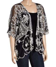 Look at this Simply Irresistible Black & White Lace Open Cardigan - Plus on #zulily today!