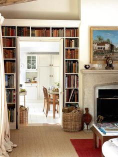 Living room/library with built-in bookcase and Tudor arch fireplace surround --Alistair and Fiona Erskine's century home -- Period Living Decor, House Interior, Whitney House, Cottage Interiors, Home, Interior, Home Decor, Vintage Living Room, French Doors Interior