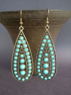 BEAUTIFUL - Turquoise and Antique Brass, large earrings.