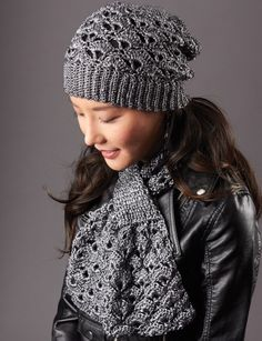 Silver Screen Hat and Scarf - Patterns | Yarnspirations