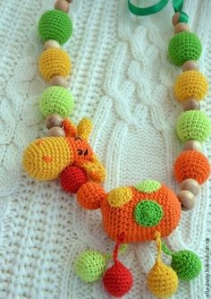 "Слингобусы ""Жирафик"" - оранжевый,бусы,можжевельник,хлопок"