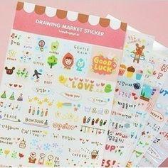 6 sheets drawing Market transparent PVC diary book album decoration sticker