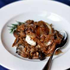 Mushroom Risotto with Caramelized Onions Recipe Main Dishes with shiitake, boiling water, olive oil, yellow onion, garlic, cremini mushrooms, fresh rosemary, arborio rice, dry white wine, balsamic vinegar, vegetable broth, salt, ground black pepper
