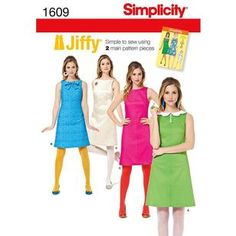Simplicity Pattern 1609 Women's Dress Vintage Dress Patterns, Vintage Dresses, Simplicity Sewing Patterns, Normal Wear And Tear, Different Fabrics, Top Pattern, Sewing Clothes, Retro Vintage, Summer Dresses
