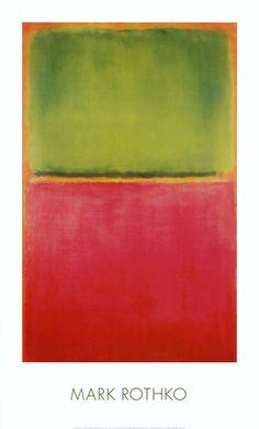 Grün, Rot auf Orange Kunstdruck