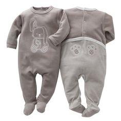 Pyjama à pieds velours bébé fille ou garçon (lot de 2) Cocoon
