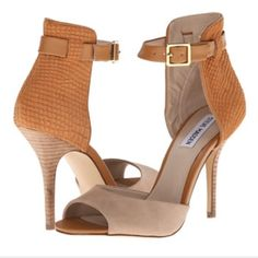 Steve Madden Stepout heels Own the night in this gorgeous two piece dress heel! Features an adjustable strap for a secure fit. Worn once. Camel Stepout heel. Steve Madden Shoes