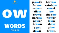 English Phonics - Improve your spoken English - daily use English words - English word speaking practice - English sentence speaking practice - ow words - ow sound - ow phonics - ow sound words - everyday ow words - ow phonics sound - ow vowel sound words - long vowel sound ow - long ow words - vowel digraph ow - long vowel ow - ow words examples - ow blending - blending phonics - ow consonant digraph - English language phonics English Reading, English Study, British English, Word Sentences, English Sentences, English Phonics, English Vocabulary, Learn English Words, English Lessons