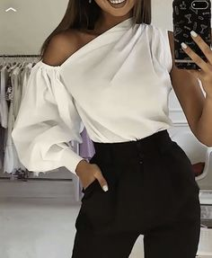 Solid One Shoulder Lantern Sleeve BlouseYou can find One shoulder and more on our website.Solid One Shoulder Lantern Sleeve Blouse Trend Fashion, Womens Fashion, Pattern Fashion, Blouse Designs, Camouflage, Blouses For Women, Fashion Dresses, Sleeves, How To Wear