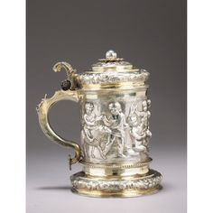 A German silver parcel-gilt tankard, apparently unmarked, 17th century